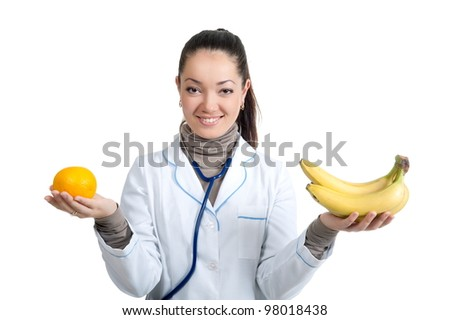Female doctor isolated over a white background - stock photo