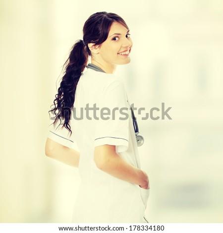 Female doctor or nurse - stock photo