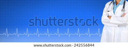 Female Doctor over a Health Care background with EKG graph. Suitable for medical web sites with room for your copy.