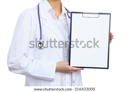 Female doctor showing clipboard with copyspace