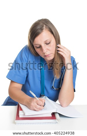 Female doctor studying