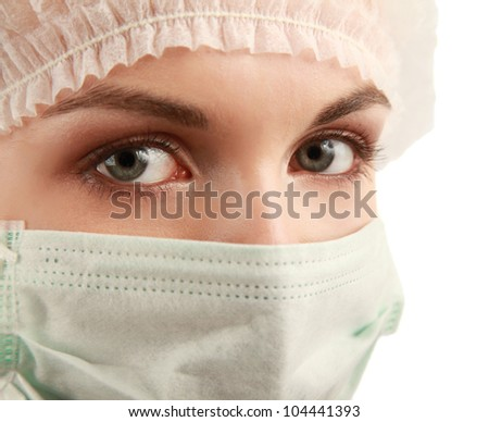 Female doctor wearing mask on white background