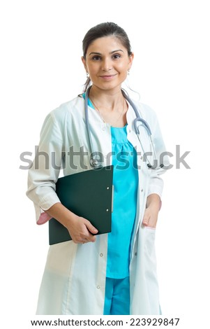 female doctor with clipboard isolated on white
