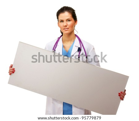 Female doctor with empty board , isolated on white background