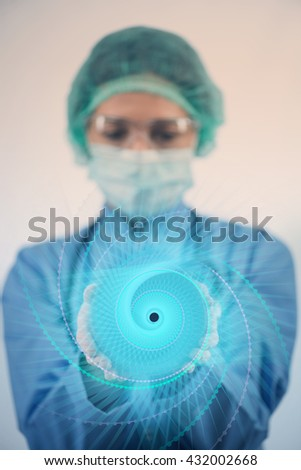 Female doctor with set of abstract elements - stock photo