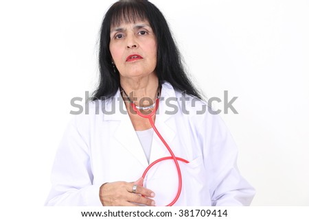 female doctor with white background