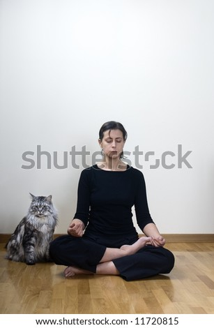 female doing yoga with her maine coon