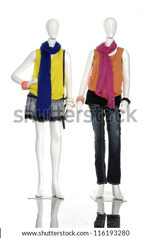 female dress with scarf and bracelet,on mannequin - - stock photo