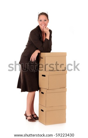 Female employee, secretary, businesswoman with postal package, box. Studio, white background.