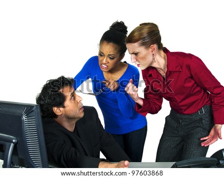 female employees blaming male co worker - stock photo