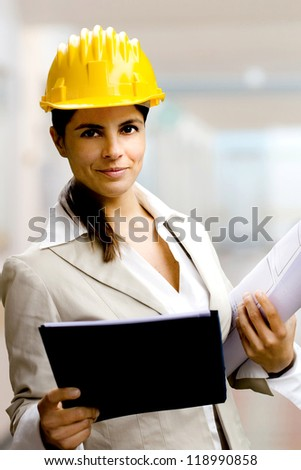 female engineer with helmet