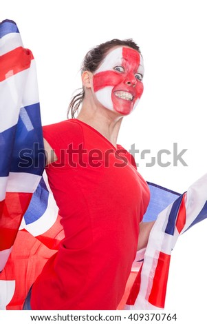 female english painted soccer fan with flag is looking happy, isolated on white - stock photo