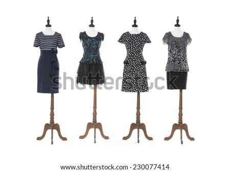 female evening dress on four dummy - full-length  - stock photo