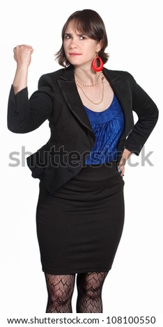 Female executive shaking her fist over white background - stock photo
