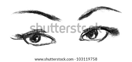 Female eye close-up. Portrait of beautiful girl. Hand-drawn. Drawing in pencil - stock photo