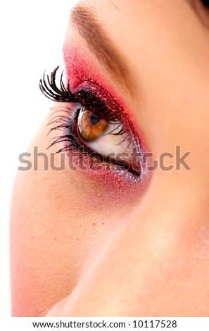 female eye closeup with make up isolated over a white background