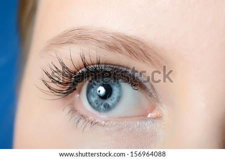 Female eye with long eyelashes close up