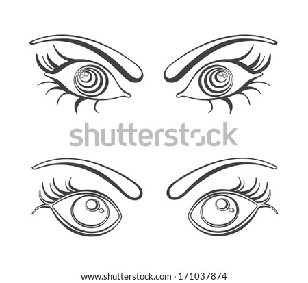 Female eyes illustration.  - stock photo