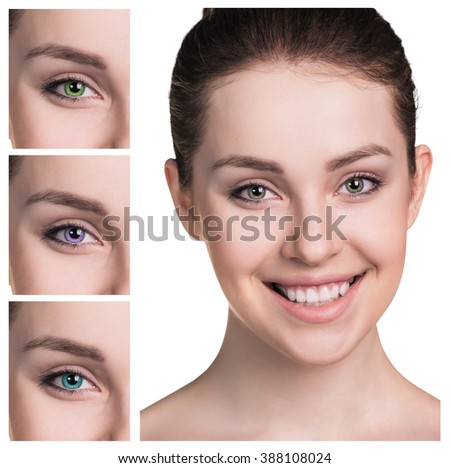 Female eyes in color contact lenses - stock photo