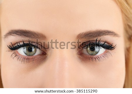 Female eyes with light make-up, closeup - stock photo