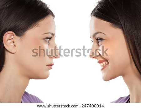 female face, before and after cosmetic nose surgery - stock photo