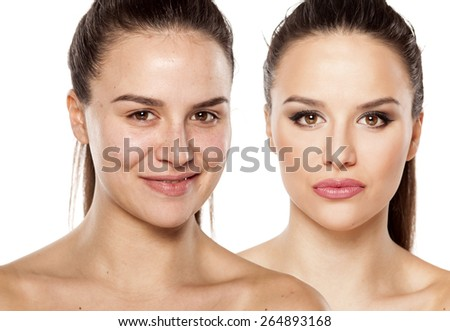 female face without and with makeup. Stock photo. - stock photo
