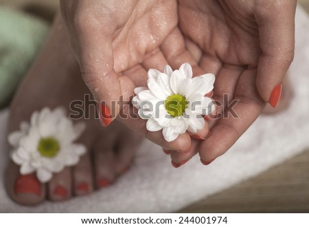 Female feet and hands with drops of water, towel and flowers. Macro image.