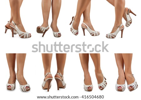 Female feet in white sandals with high heels in various poses - stock photo
