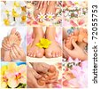 Female feet massage and flowers. Spa - stock photo