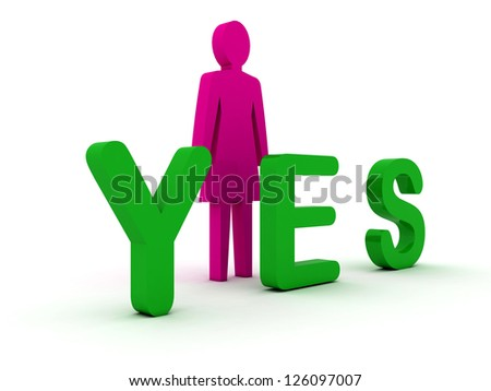 Female figure standing near to an yes icon. Concept 3D illustration