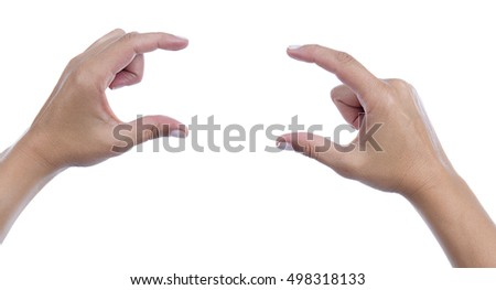 Female finger pointing your object or text isolated on white background.