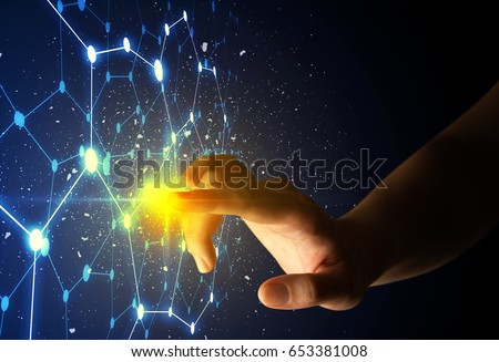Female finger touching a beam of light surrounded by a connectivty concept