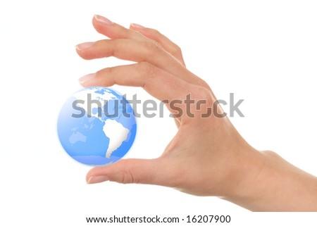 Female fngers holding a blue earth globe - stock photo