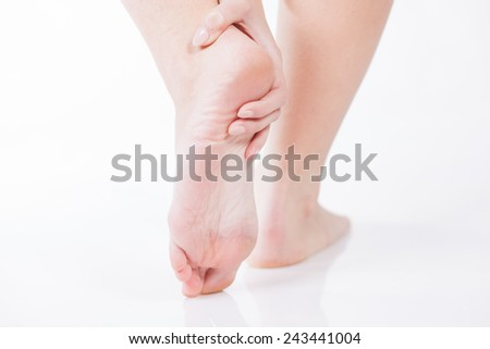 Female foot heel pain, Woman's problem concept - stock photo