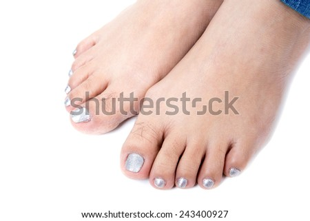 Female foot. Studio shot isolate on white background .
