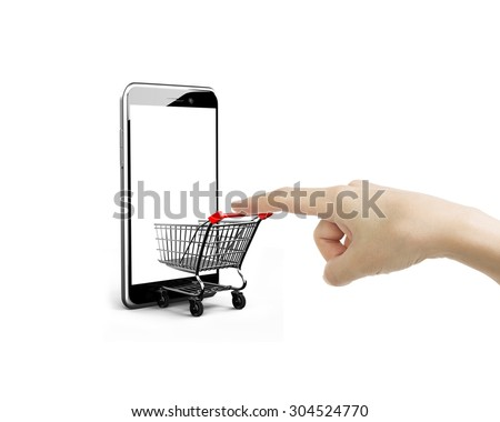 Female forefinger pushing small shopping cart entering smartphone of white screen, isolated on white, on line shopping concept.