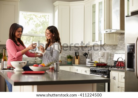 Female gay couple make a toast as they prepare a meal - stock photo