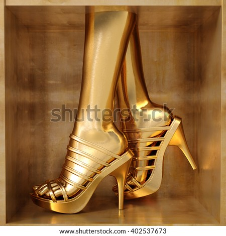 Female gold legs wearing summer high heels over golden background