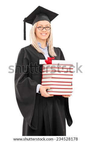 Female graduate student holding a stack of books isolated on white background