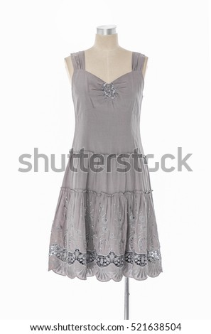 female gray evening dress isolated on dummy
