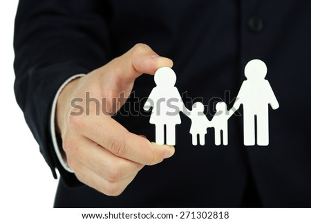 Female hand and chain family, closeup - stock photo