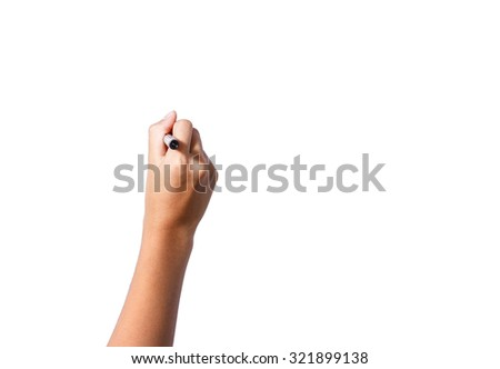 female hand drawing black pen on isolated background