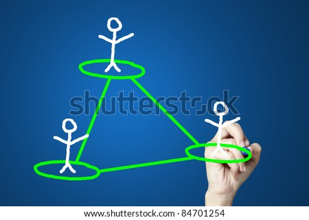 female hand drawing social network structure in a whiteboard - stock photo