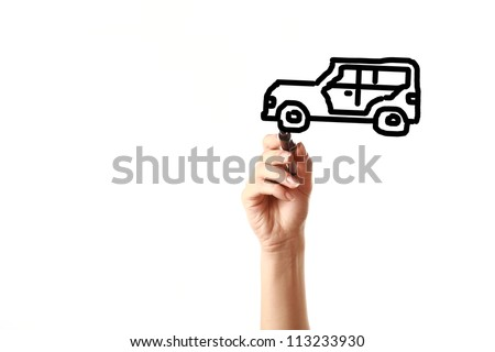 Female hand drawing  vintage car on screen with black marker isolated on white background.