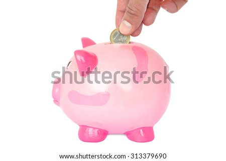 Female hand dropping one euro coin into a pink piggy bank - stock photo