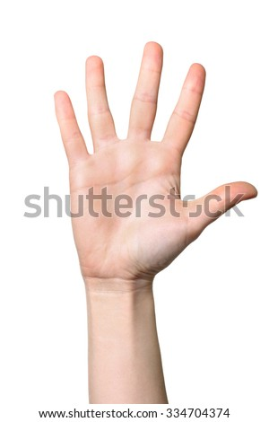 Female hand extended in greeting isolated on white. - stock photo