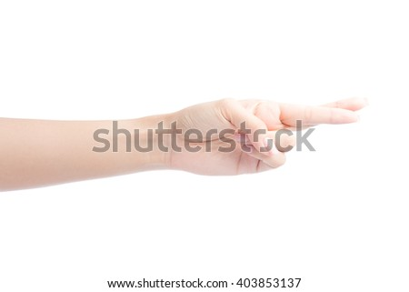 Female hand fingers crossed Isolated on white with clipping path included