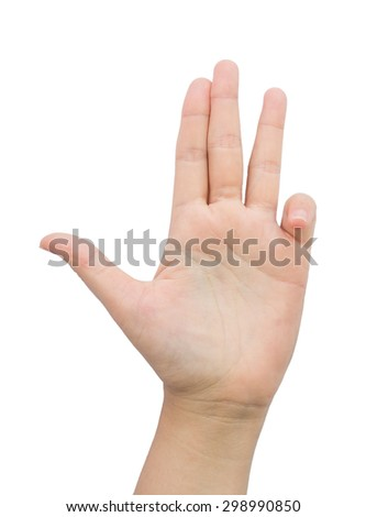 Female hand gesture four finger on isolated background.