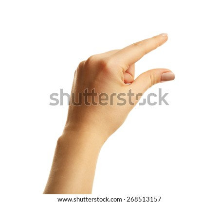 Female hand gesture isolated on white