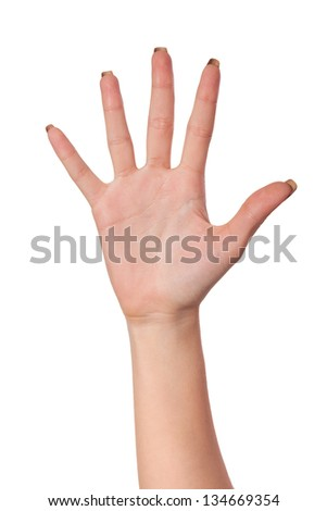 Female hand gesture number five closeup isolated on a white background